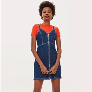 Topshop Indigo Denim Bodycon Front Zip Mini Dress